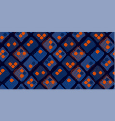Midcentury style contrast orange and blue pattern vector