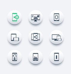mobile desktop apps icons set vector image