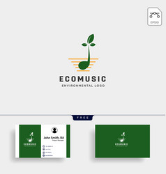 Music symbol leaf nature simple logo template vector