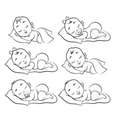 Newborn baby sketch vector
