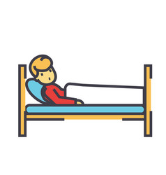 patient in hospital bed clinic concept line vector image