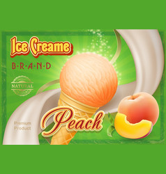 peach ice cream advertising vector image