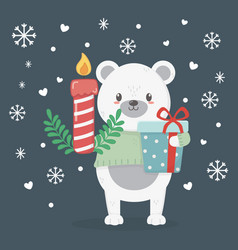 polar bear with candle and gift celebration merry vector image