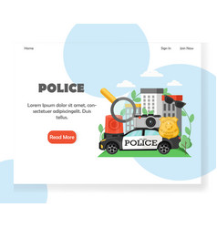 police website landing page design template vector image