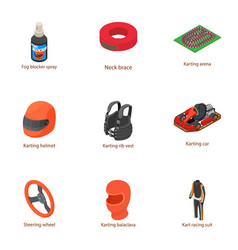 Pursuit icons set isometric style vector
