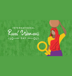 Rural women day card woman worker with basket vector