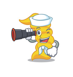sailor with binocular fusilli pasta mascot cartoon vector image