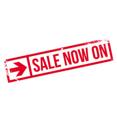 Sale now on rubber stamp vector