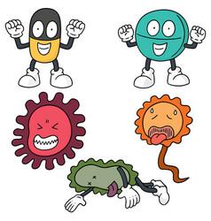 Set bacteria and antibiotics vector