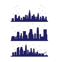 Set metropolis city silhouette with fireworks vector