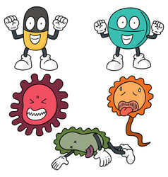 set of bacteria and antibiotics vector image