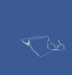 set of book and glasses hand draw vector image