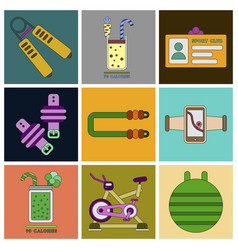 Set of icons in flat design gym equipment vector