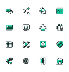 Set of icons of business workflow items and vector