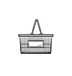 shopping basket hand drawn outline doodle icon vector image