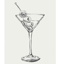 Sketch Martini Cocktails with Olives vector