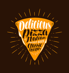 Slice of pizza food meal eating concept vector