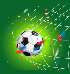 Soccer ball with confetti soccer competition vector