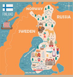 stylized map finland vector image
