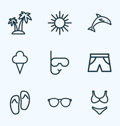 sun icons line style set with bikini dolphin vector image