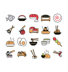 Sushi oriental menu icons set line and fill style vector