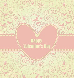 Sweet Valentines Day Card in Pink vector image
