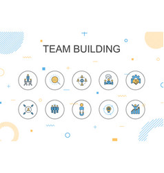 Team building trendy infographic template thin vector