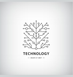 Tech logo black linear technology vector