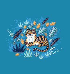 Tiger in tropical leaves isolated on yellow vector
