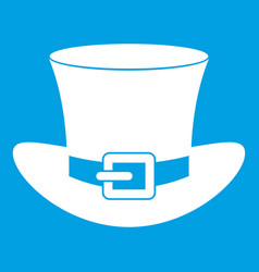 Top hat with buckle icon white vector