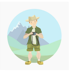 tourist man with a camera vector image