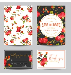 Tropical Pomegranates Flowers and Leaves Wedding vector