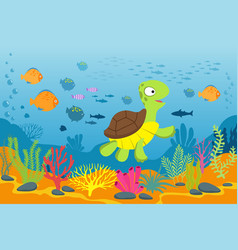 Turtle in underwater scene tortoise seaweeds and vector