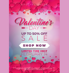 Valentines day sale with heart on red vector