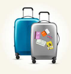 Wheeled plastic suitcases with baggage travel vector