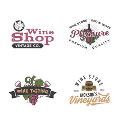 Wine logos labels set winery wine shop vector