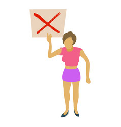 woman protest with sign icon cartoon style vector image