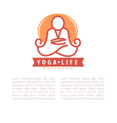 Yoga concept design template with copy space vector