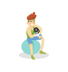 Young man exercising with dumbbells on a fitball vector