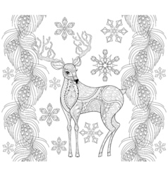 Zentangle reindeer with snowflakes fir pine branch vector