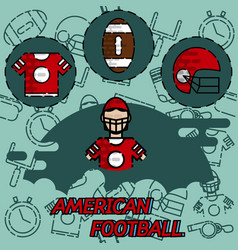 american football flat concept icons vector image