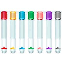 Cap tube set in seven colours vector