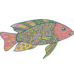 doodle zentangle fish zen art coloring page for vector image