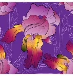 Seamless pattern of irises purple vector image vector image