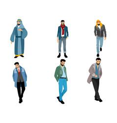 six modern muslim men vector image vector image