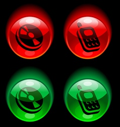 buttons with pictograms vector image