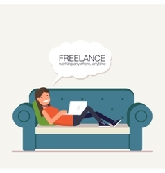 Freelancer girl with a laptop lying on bed Remote vector image