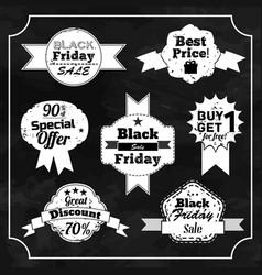set of black friday chalkboard badges vector image