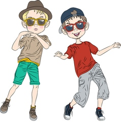 two hipster guys dancing vector image vector image