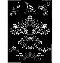 Collection white flourishes patterns vector image vector image